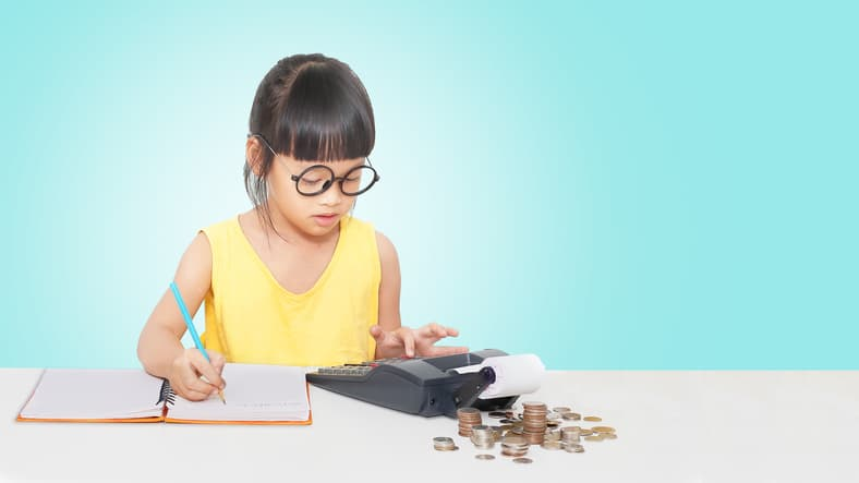 little girl counting change