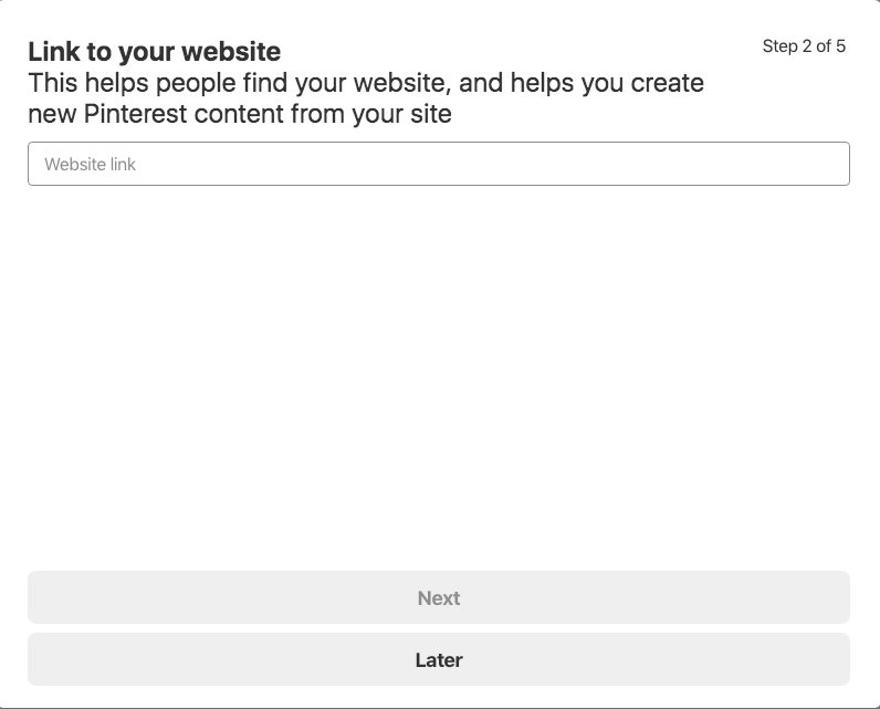 adding your website link on pinterest business profile