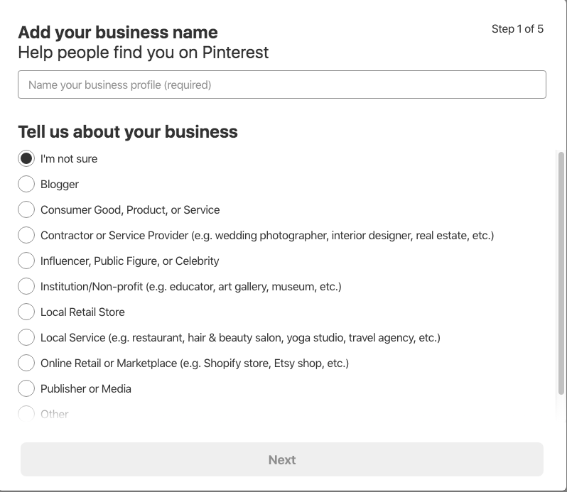 converting to a business account on pinterest