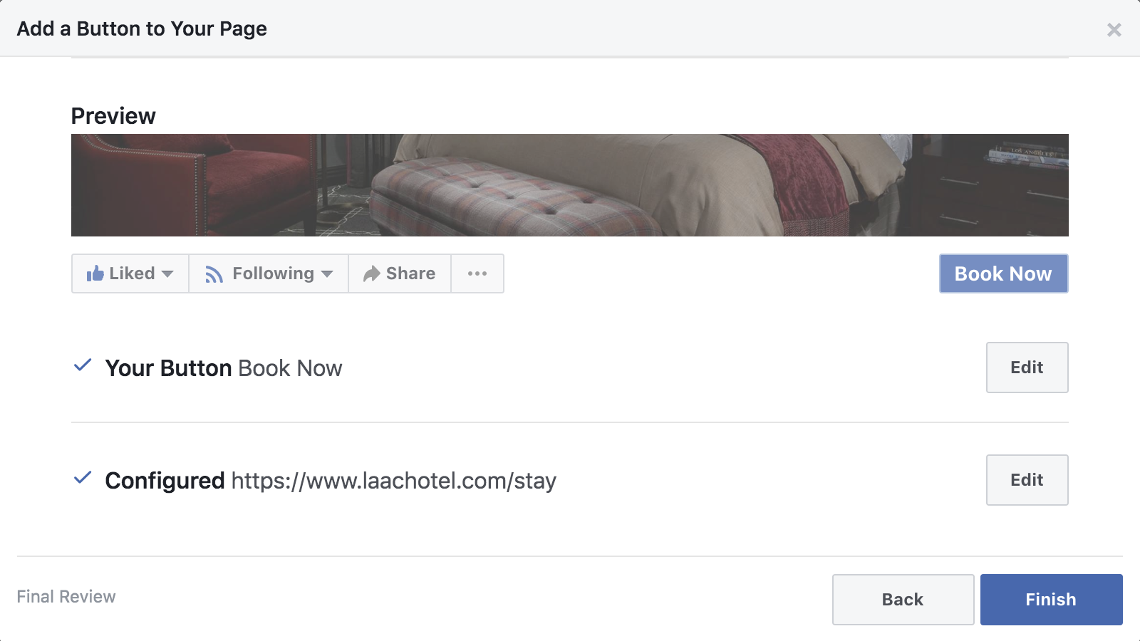 review 'book-now' button before publishing to Facebook
