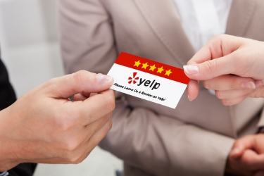 Yelp card with 5 star reviews