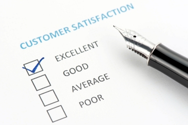 customer satisfaction survey with 'excellent' checkmarked