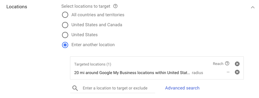 settings panel in adwords