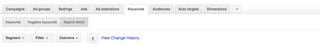 adwords interface for negative keywords