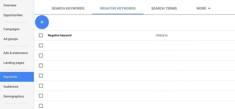 new adwords interface for adding negative keywords