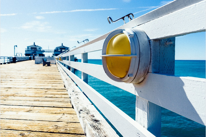 perspective shot of pier