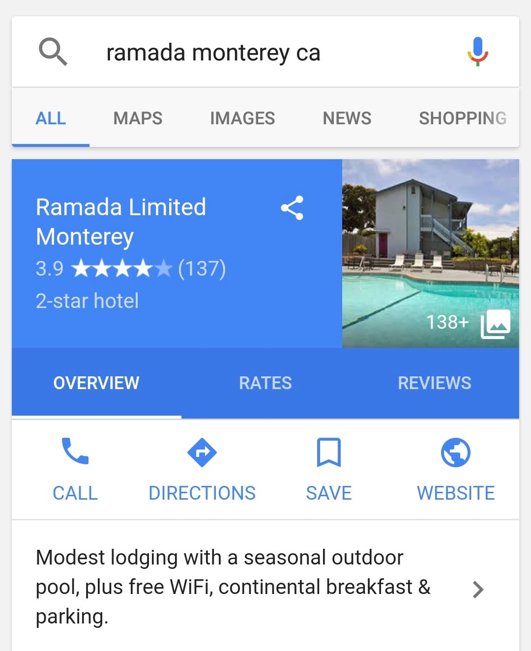 Ramada Monterey hotel google my business