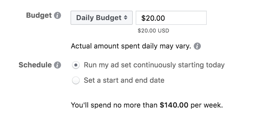 setting a budget for your Facebook ads