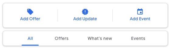 create an offer, update or an event on Google Posts