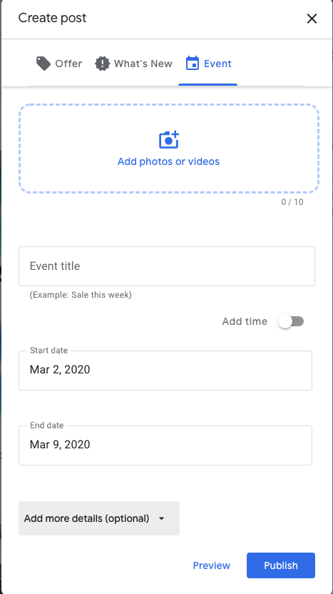 Enter the title into an Event in google Posts