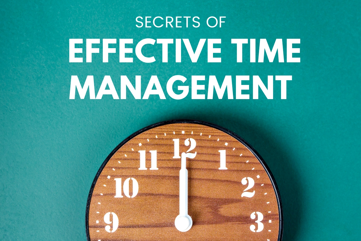 Secrets of Effective Time Management - Image of a clock pointing at 12:00