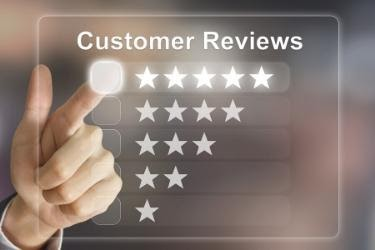 Customer Reviews - Finger selecting the five stars option