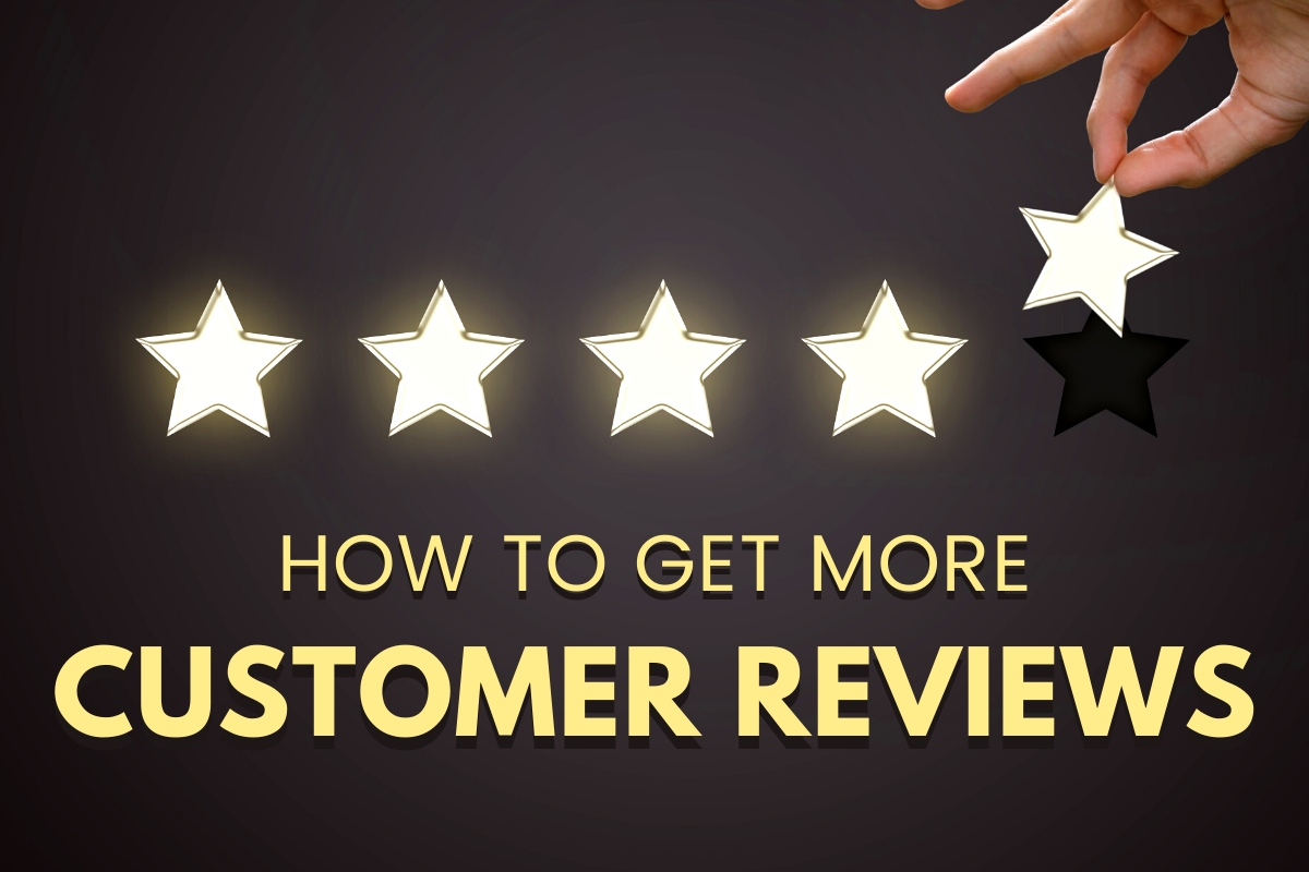 How to Get More Customer Reviews - Hands placing the fifth star on a five star review