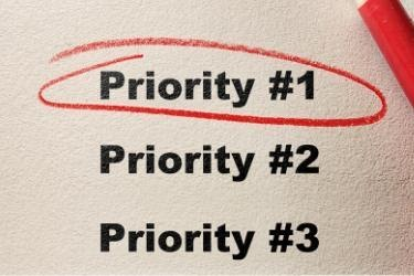 Priority concept with priority #1 circled in red