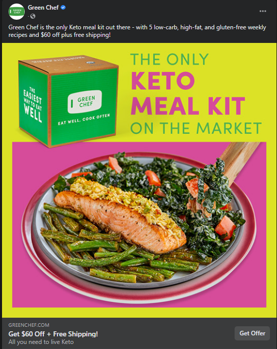 Green Chef Facebook Ad - Keto Meal Kit
