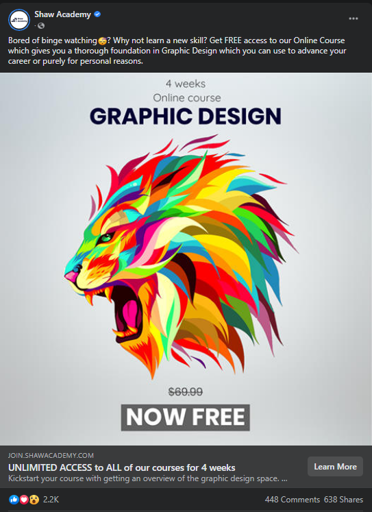 Shaw Academy Facebook Ad - Graphic Design Online Courses