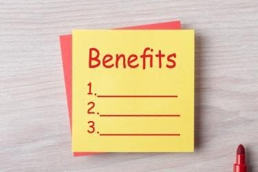 Sticky Notes with a list of benefits