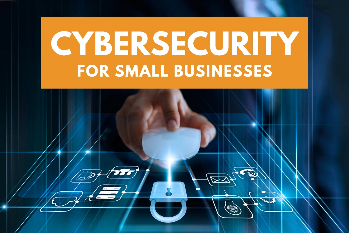 Hand with a mouse clicking at a security lock - Cybersecurity for Small Businesses