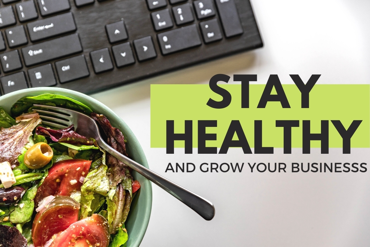 Bowl of Salad next to a keyboard - Stay Healthy & Grow Your Business