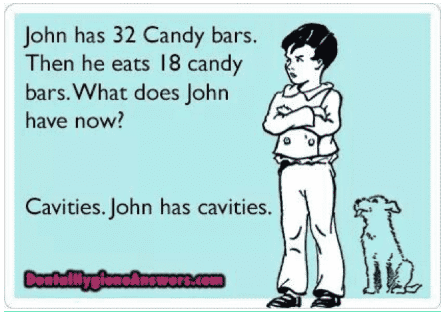 Funny Post - John has 32 Candy bars. Then he eats 18 candy bars. What does John have now? Cavities. John has cavities.