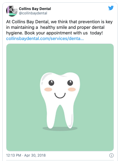 Twitter Post with a cartoon tooth image as a CTA.