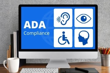 ADA Compliance - Graphic in a computer showing ADA Compliance for disabilities.