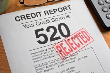Credit report with a credit score of 520 with a rejected seal