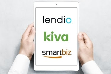 Lendio, Kiva and Smartbiz logos in a tablet