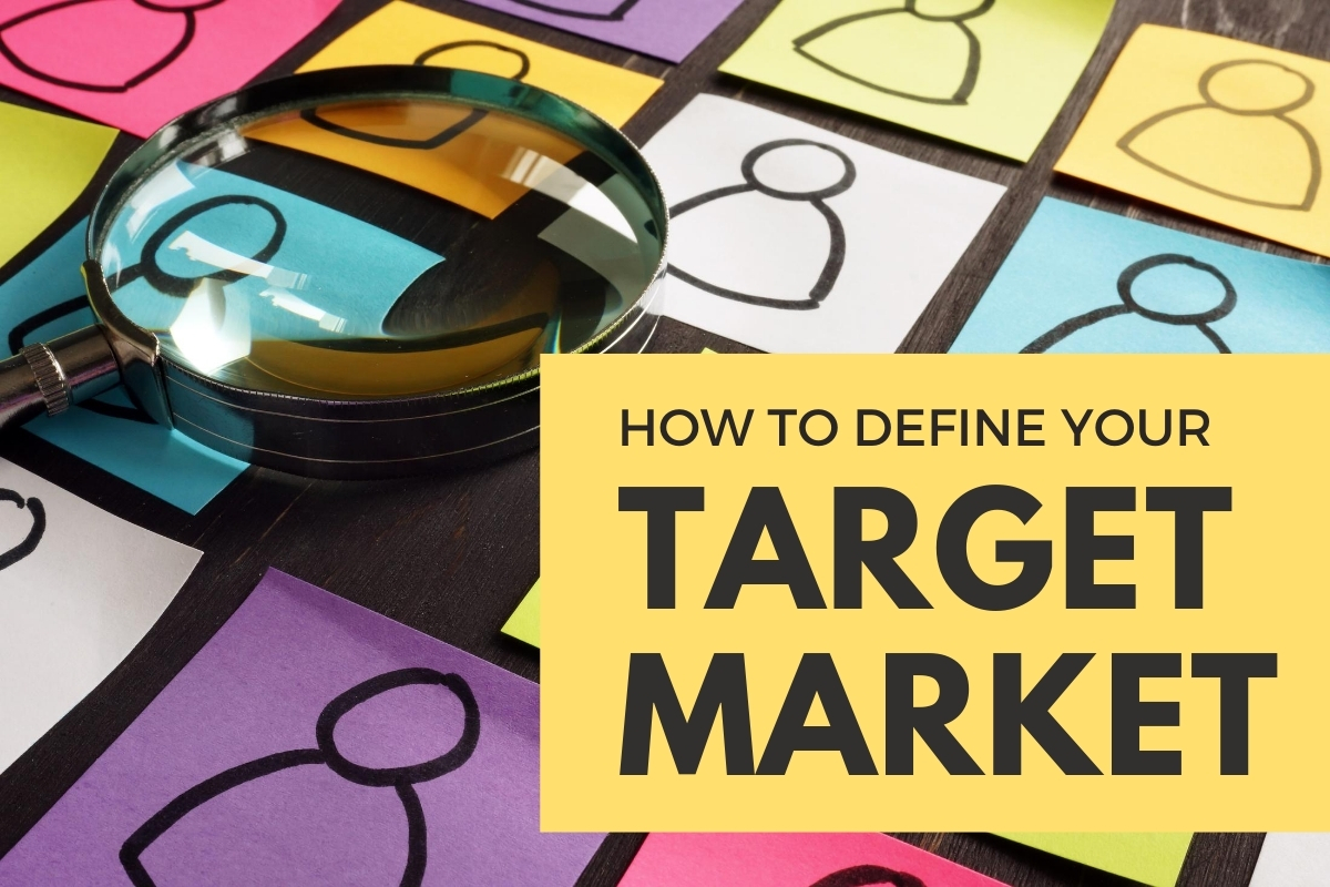 Magnifier on top of sticky notes with people's icons drawn - How to Define Your Target Market
