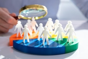 Market Segmentation - People separated by groups of colors