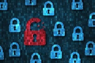 Data Breach Concept - Blue locks representing privacy, and a red lock representing data breach