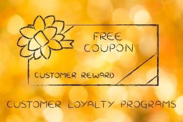 Free coupon, customer reward - customer loyalty programs