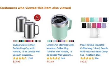 Amazon recommended product area