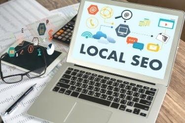 Laptop with the words Local SEO