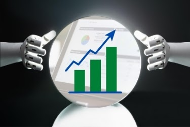 Predictive Analysis concept - Hands predicting the future growth chart.