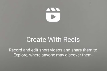 Instagram message when opening Reels - Create With Reels