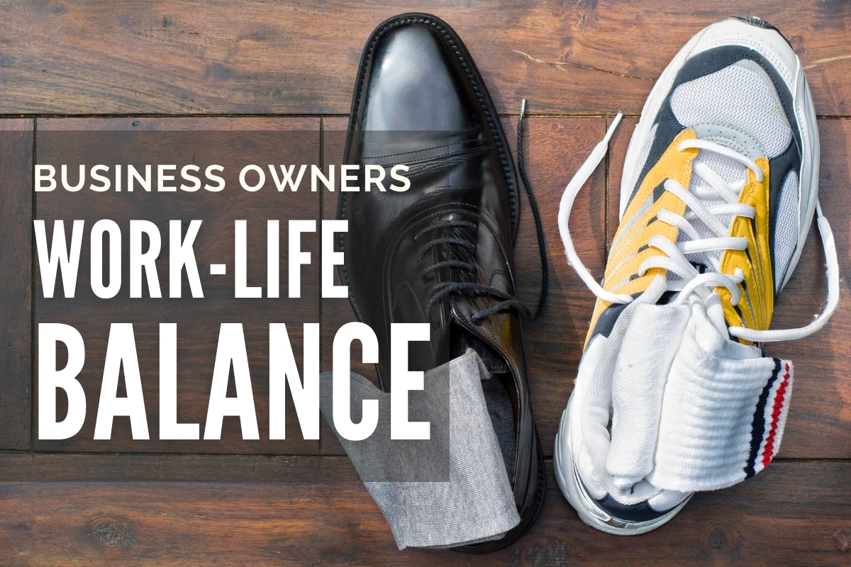 Black leather mans shoe next to a running sneaker - Business Owner Work-Life Balance