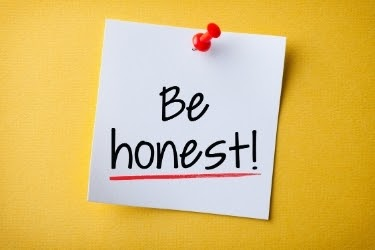 """Pinned Post It that says """"Be Honest!"""""""
