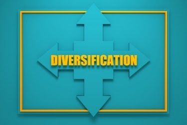 Diversification - Arrows going up, down, left and right