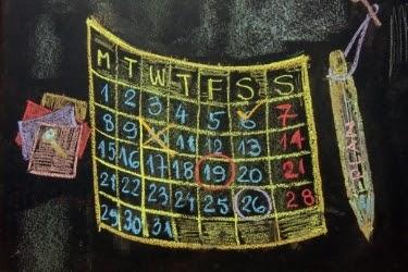 Calendar drawing on a chalkboard
