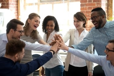 Employees showing team work