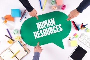 "Fingers pointing to a giant speech bubble that says ""Human Resources"""