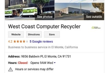 Google My Business example - West Coast Computer Recycler
