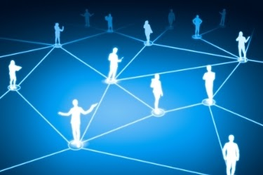 Silhouette of people connected