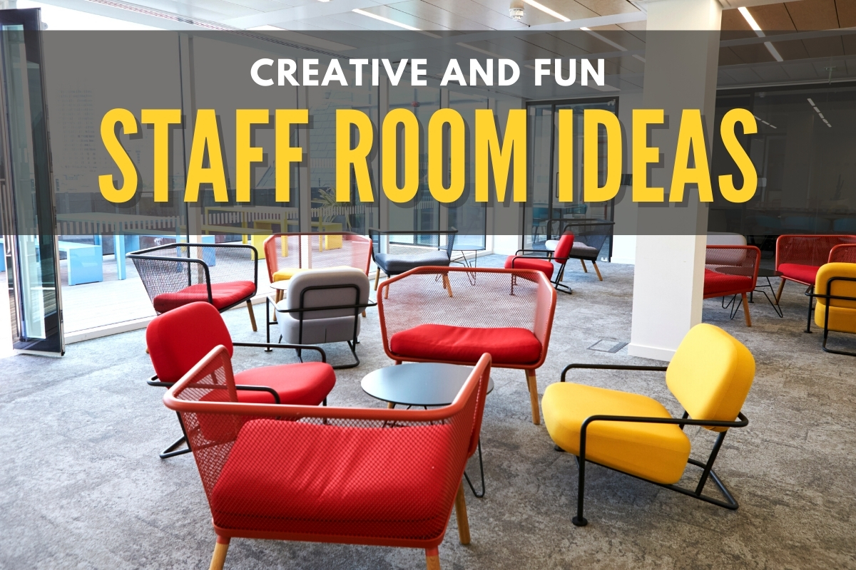 Break room with red and yellow chairs - Creative and Fun Staff Room Ideas