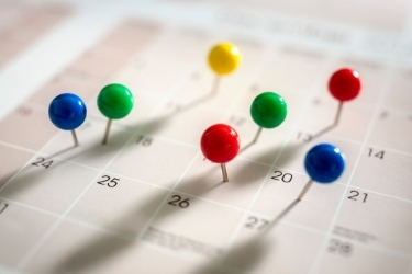 Calendar with a lot of pins