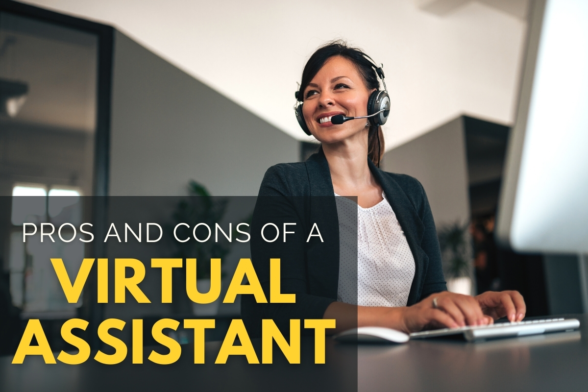 Woman with a headset working in front of her computer - Pros and Cons of a Virtual Assistant