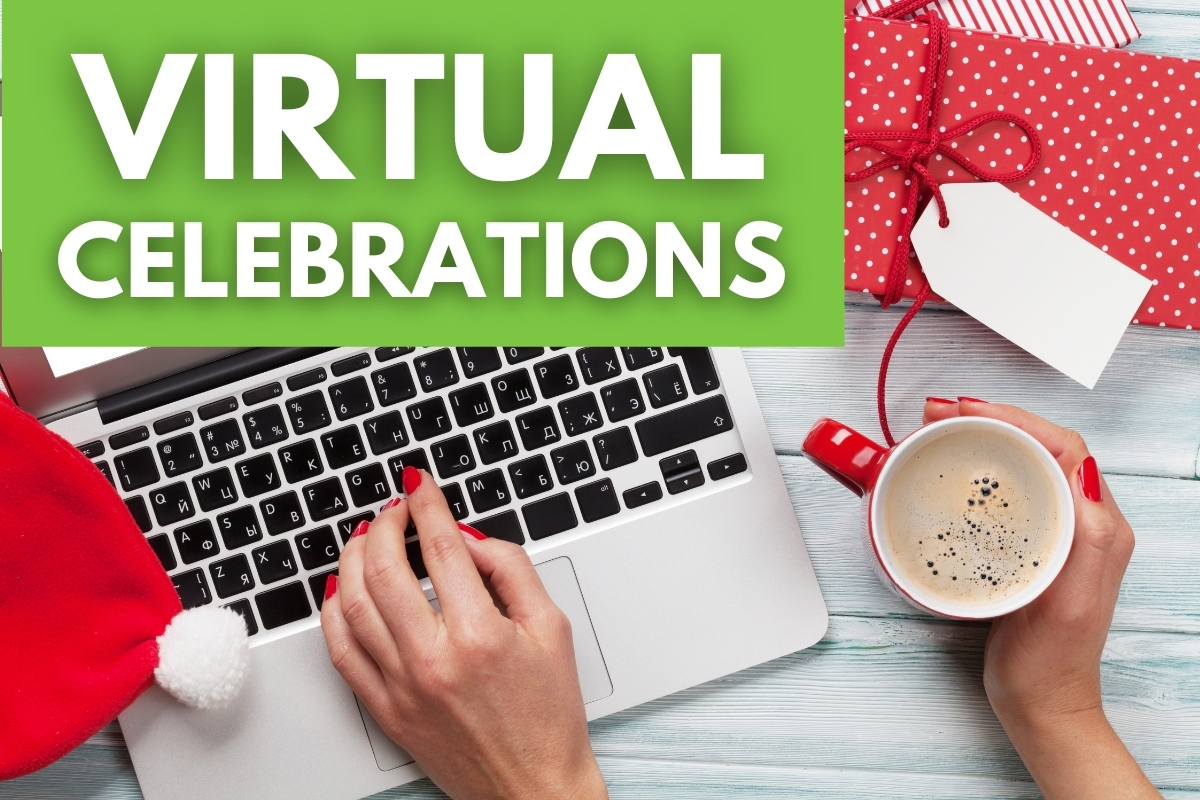 Hands in front of a laptop surrounded with Holiday decorations - Virtual Celebrations