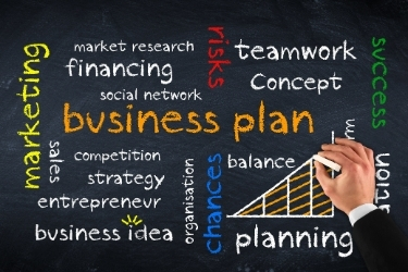 Creating a business plan concept - Chalkboard with words like marketing, social network, strategy, etc.