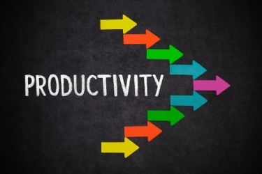 """The word """"Productivity"""" with some arrows going forward"""